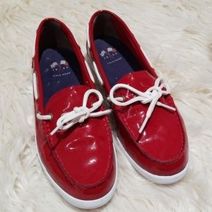 Cole Haan red patent leather loafer boat shoes 8.5